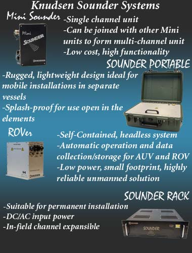 KNUDSEN Sounder Series single beam echosounders, suited for bathymetry and marine surveys